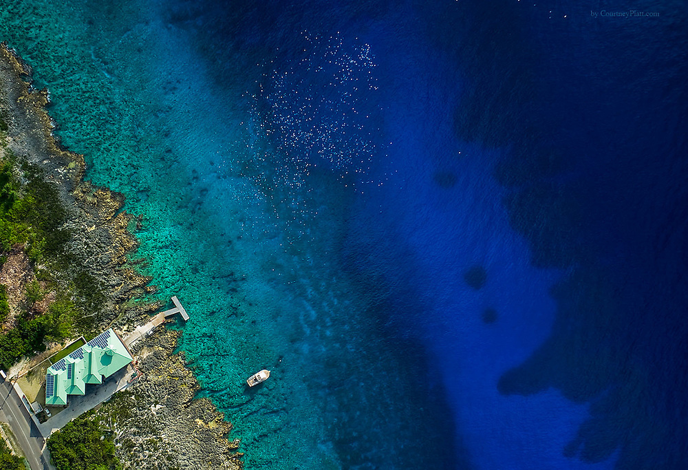 Aerial view of Turtle Reef, Lighthouse Point, Grand Cayman. One of our very best shore dive facilities and reefs.  Dive Tech dive shop with ladder entry and restaurant.