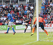 Dundee's Paul McGowan fires in a shot -  St Johnstone v Dundee, SPFL Premiership at McDiarmid Park<br /> <br />  - &copy; David Young - www.davidyoungphoto.co.uk - email: davidyoungphoto@gmail.com
