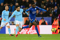 Bernardo Silva of Manchester City battles for the ball with Wilfred Ndidi of Leicester City - Mandatory by-line: Alex James/JMP - 18/11/2017 - FOOTBALL - King Power Stadium - Leicester, England - Leicester City v Manchester City - Premier League