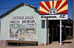 Kingman, Arizona sign along historic route 66 - next to the Mother Road Harley Davidson building.