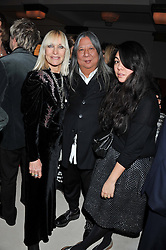 Left to right, VIRGINIA BATES, JOHN ROCHA and SIMONE ROCHA at a private dinner hosted by Lucy Yeomans in honour of Jason Brooks at The Cafe Royal, Regent Street, London on 13th February 2013.