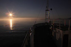 USA ALASKA ST PAUL ISLAND 8JUL12 - Sunset over the Bering Sea seen from aboard the Esperanza off the island of St. Paul in the Bering Sea, Alaska.....Photo by Jiri Rezac / Greenpeace....© Jiri Rezac / Greenpeace