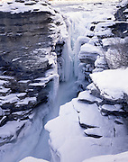 Sunwapta Falls, Jasper, Alberta, Canada, Ice, Snow, Winter