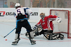 Timotej Sille of Slovakia vs Markus Schilcher, goalie of Austria, at inline hockey match between Slovakia and Austria at HorjulCup, on June 10, 2011 in Sportni park, Horjul, Slovenia. (Photo by Matic Klansek Velej / Sportida)