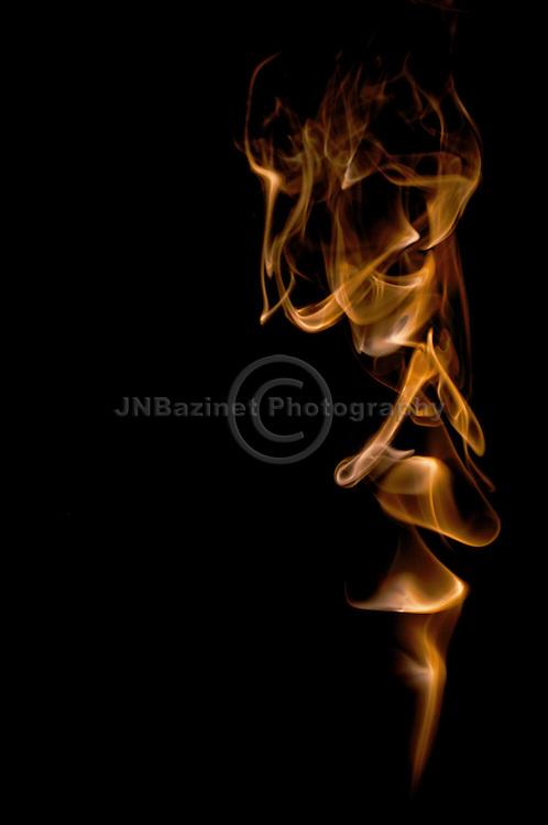 Image of skeleton captured in smoke art.