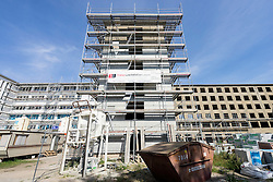 Renovation into modern apartments  of Nazi era buildings at former resort Prora on Rugen Island in Mecklenburg Vorpommern Germany
