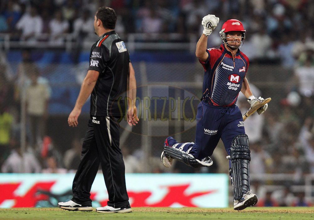 Delhi Daredevils player James Hopes celebrates after winning during  match 16 of the Indian Premier League ( IPL ) Season 4 between the Pune Warriors and the Delhi Daredevils held at the Dr DY Patil Sports Academy, Mumbai India on the 17th April 2011..Photo by BCCI/SPORTZPICS