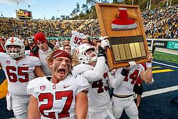 BERKELEY, CA - DECEMBER 01: The Stanford Cardinal celebrate with the Stanford Axe after the game against the California Golden Bears at California Memorial Stadium on December 1, 2018 in Berkeley, California. The Stanford Cardinal defeated the California Golden Bears 23-13. (Photo by Jason O. Watson/Getty Images) *** Local Caption ***
