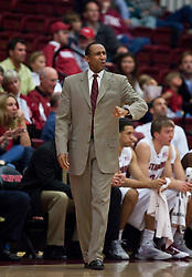 November 6, 2009; Stanford, CA, USA;  Stanford Cardinal head coach Johnny Dawkins disputes a call during the first half of an exhibition game against the Sonoma State Seawolves at Maples Pavilion.