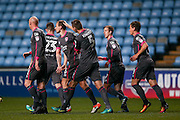 Morecambe  defender Dean Winnard (6) is congratulated by his team mates after scoring a goal to make the score 0-1 during the The FA Cup match between Coventry City and Morecambe at the Ricoh Arena, Coventry, England on 15 November 2016. Photo by Simon Davies.