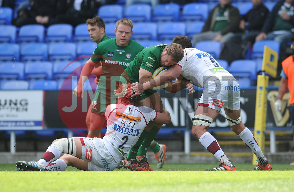 London Irish Hooker (#2) David Paice is challenged by Sale Sharks Lock (#5) Nathan Hines and Hooker (#2) Tommy Taylor - Photo mandatory by-line: Dougie Allward/JMP - Mobile: 07966 386802 - 12/04/2015 - SPORT - Rugby - Reading - Madejski Stadium - London Irish v Sale Sharks - Aviva Premiership