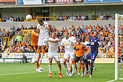 Hull's Ahmed Elmohamady heads the ball clear during the Sky Bet Championship match between Wolverhampton Wanderers and Hull City at Molineux, Wolverhampton, England on 16 August 2015. Photo by Shane Healey.