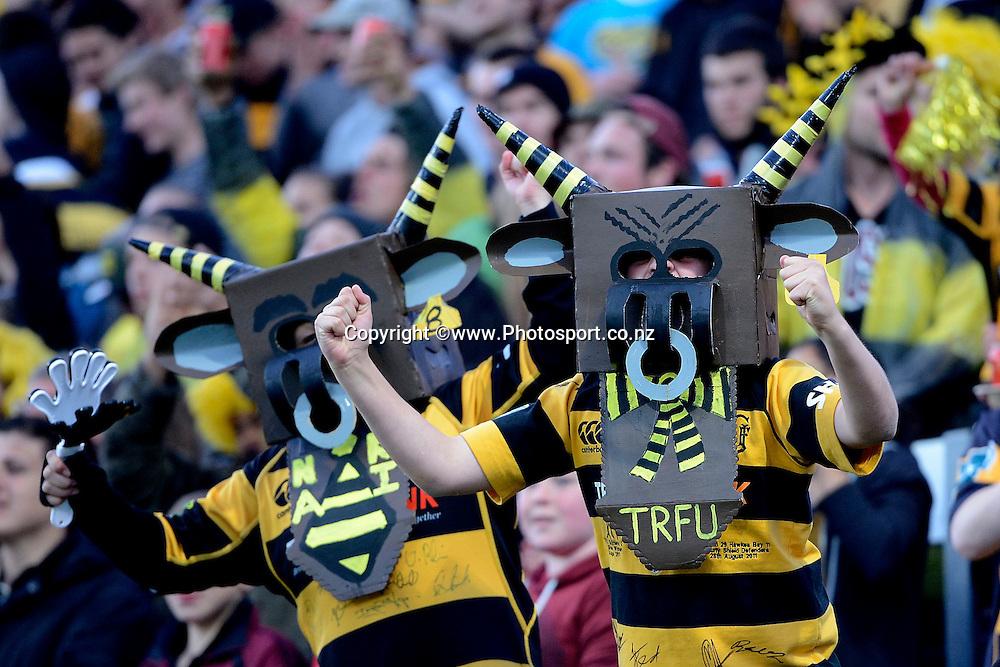 Taranaki fans celebrate a try during the ITM Cup Premiership Final between Taranaki & Tasman at Yarrow Stadium in New Plymouth, New Zealand, 25th October 2014. Photo: Marty Melville/Photosport.co.nz