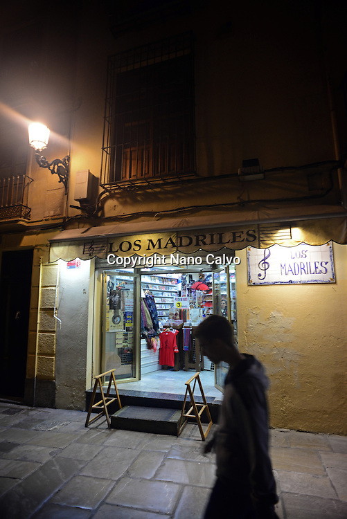 Souvenir shop at night in Granada, Spain