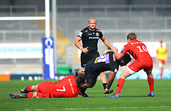 Ben Earl of Saracens Storm tackles Elvis Taione of Exeter Braves - Mandatory by-line: Nizaam Jones/JMP - 22/04/2019 - RUGBY - Sandy Park Stadium - Exeter, England - Exeter Braves v Saracens Storm - Premiership Rugby Shield