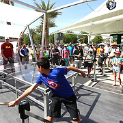 March 14, 2016, Palm Springs, CA:<br /> Sam Querrey plays ping pong with fans at the Audi tent during the 2016 BNP Paribas Open at the Indian Wells Tennis Garden in Indian Wells, California Monday, March 14, 2016.<br /> (Photos by Billie Weiss/BNP Paribas Open)