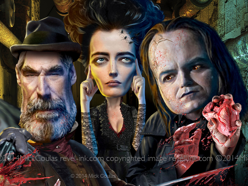 "Caricature: Explorer Sir Malcolm Murray (Timothy Dalton), possessed Vanessa Ives (Eva Green), Frankenstein's ""The Creature"" (Rory Kinnear) combat in supernatural struggles in Victorian London. Photoshop. Originally published in Penthouse Entertainment Review."