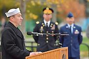 The president of the Kent State Veterans club speaks at the university's Veterans Day observance