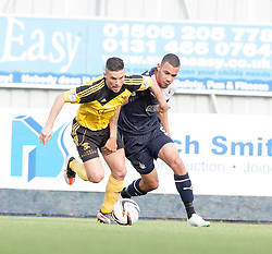 Livingston Jason Talbot and Falkirk's Phil Roberts.<br /> half time : Falkirk 0 v 1 Livingston, Scottish Championship game today at The Falkirk Stadium.<br /> &copy; Michael Schofield.