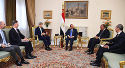 02.08.2015, Kairo, EGY, John Kerry in Ägypten bei Al Sisi, im Bild der Außenminister der Vereinigten Staaten John Kerry bei einem Treffen mit den Ägyptischen Präsident Abd al-Fattah as-Sisi // A handout photo provided by the Egyptian Presidency shows US Secretary of State John Kerry (L) speaking to Egyptian President Abdel Fattah al-Sisi during a meeting. Kerry arrived in Cairo 02 August at the start of a Middle East trip expected to focus on Iran and the fight against terrorism, Egypt on 2015/08/02. EXPA Pictures © 2015, PhotoCredit: EXPA/ APAimages/ Egyptian President Office<br /> <br /> *****ATTENTION - for AUT, GER, SUI, ITA, POL, CRO, SRB only*****