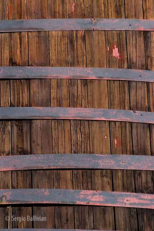 Close-up of steel straps around a water tower near Telluride, Colorado