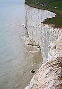 Sheer vertical chalk cliffs at Beachy Head, east Sussex, England a notorious suicide spot