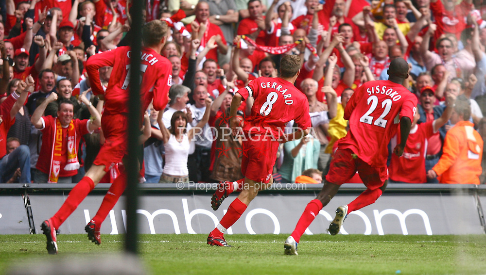 CARDIFF, WALES - SATURDAY, MAY 13th, 2006: Liverpool's Steven Gerrard celebrates scoring the second goal against West Ham United during the FA Cup Final at the Millennium Stadium. (Pic by David Rawcliffe/Propaganda)