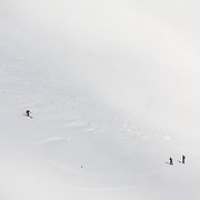 Skiers in Lónafjörður, Iceland.<br /> <br /> Images from an ski touring adventure to Jökulfirðir, a series of fjords in west Iceland, with Bergmenn Mountain Guides and Borea Adventures.