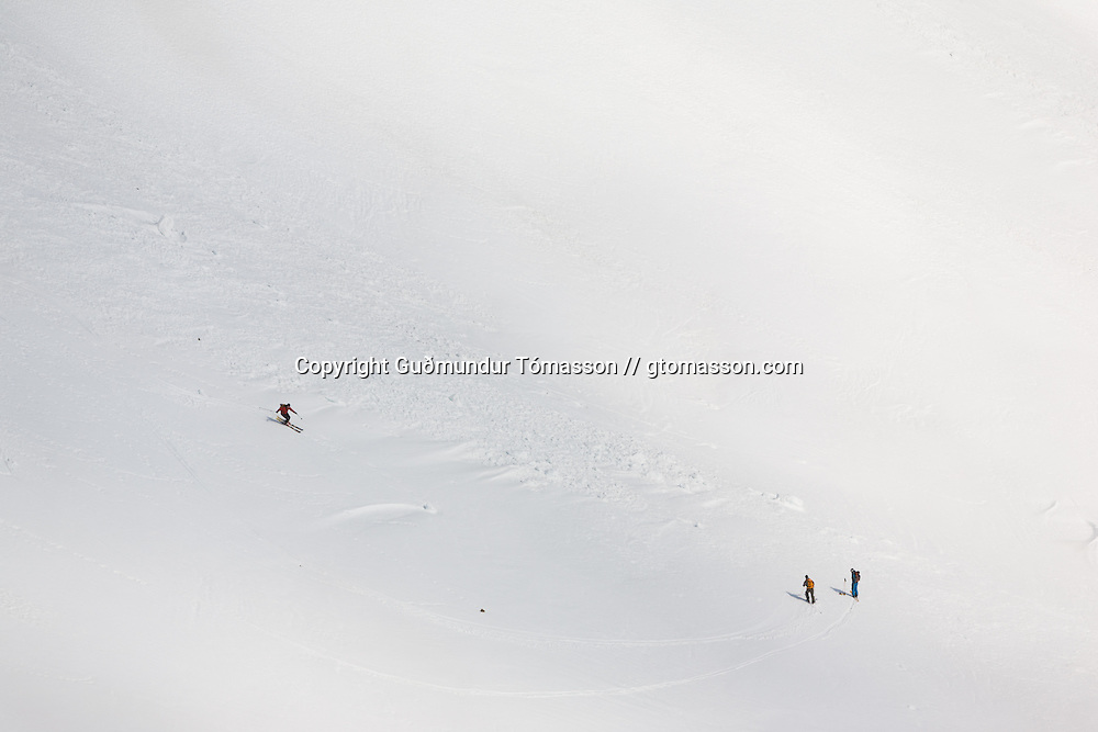 Skiers in L&oacute;nafj&ouml;r&eth;ur, Iceland.<br /> <br /> Images from an ski touring adventure to J&ouml;kulfir&eth;ir, a series of fjords in west Iceland, with Bergmenn Mountain Guides and Borea Adventures.