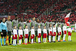 March 23, 2018 - Wroclaw, Poland - The national Nigerian football team pictured during the international friendly match between Poland and Nigeria at Wroclaw Stadium in Wroclaw, Poland on March 23, 2018  (Credit Image: © Andrew Surma/NurPhoto via ZUMA Press)