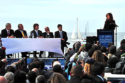 Argentina's President Cristina Fernandez (R) delivers a speech during the commemoration ceremony of the 31st anniversary of the Malvinas (Falklands) War at the Monument to the Fallen in Malvinas Square in Madryn Port, province of Chubut, Argentina, on April 2, 2013. Photo by Imago / i-Images...UK ONLY..
