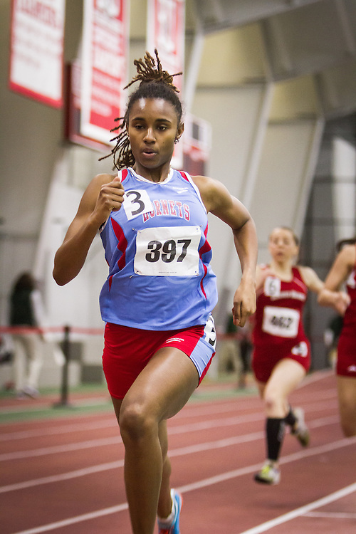 Boston University Multi-team indoor track & field, women 400 meter heat 4, Delaware State, Clark, 397