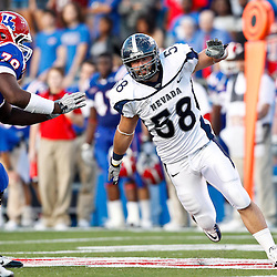 December 4, 2010; Ruston, LA, USA; Nevada Wolf Pack defensive end Ryan Coulson (58) rushes past Louisiana Tech Bulldogs offensive linesman Jordan Mills (78) during the second half at Joe Aillet Stadium.  Nevada defeated Louisiana Tech 35-17. Mandatory Credit: Derick E. Hingle