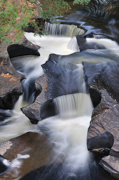 The Presque Isle River flows into 'potholes'<br />