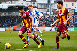 Nat Knight-Percival of Bradford City and Rory Gaffney of Bristol Rovers compete for the ball - Rogan/JMP - 20/01/2018 - FOOTBALL - Memorial Stadium - Bristol, England - Bristol Rovers v Bradford City - EFL Sky Bet League One.
