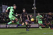 Forest Green Rovers George Williams(11) shoots at goal during the EFL Sky Bet League 2 match between Forest Green Rovers and Mansfield Town at the New Lawn, Forest Green, United Kingdom on 29 January 2019.