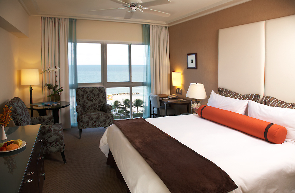 Interior photograph of an Ocean view  room at The Palms Hotel in Miami Beach.