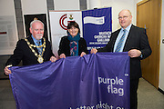 Galway City celebrates purple flag status...<br /> Galway City Council hosted a mayoral reception to celebrate Galway's designation as a Purple Flag City. The city was awarded Purple Flag status earlier this year, following a rigorous application process, in recognition of its safe, vibrant and well-managed town centre in the evening and at night.<br /> Purple Flag is an international accreditation scheme for town and city centres. It is run through the Association of Town and City Management (ATCM) and is the &ldquo;gold standard&rdquo; for night time destinations. A judging panel visited the city last December and, over a 12 hour period from 5 pm &ndash; 5 am, assessed the city using 30 different criteria, including safety, appropriate transport, available services, use of public spaces and vibrant appeal. A comprehensive application form was also submitted. Galway City passed all 30 criteria of the accreditation procedure with commendations. In particular, the city was praised was praised for strong evidence of leadership and business engagement. Mayor of Galway Cllr. Donal Lyons with Br&iacute;d N&iacute; Chongh&oacute;ile, Gaillimh le Gaelige and Brendan McGrath - Chief Executive of Galway City Council <br />  Photo:Andrew Downes, XPOSURE