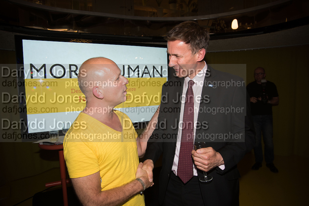 STEVE HILTON; Jeremy Hunt , Launch of ' More Human',  Designing a World Where People Come First' by Steve Hilton. Party held at Second Home in Princelet St, off Brick Lane, London. 19 May 2015.
