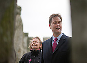 © Licensed to London News Pictures. 01/12/2014. Wiltshire, UK Nick Clegg accompanied by Dame Helen Ghosh, Director-General of the National Trust. British Prime Minister Nick Clegg visits The World Heritage Site of Stonehenge in Wiltshire today 1st December 2014. A tunnel passing Stonehenge is among dozens of new road schemes announced by the government, as part of £15bn of improvements to England's roads.. Photo credit : Stephen Simpson/LNP