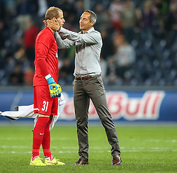 06.08.2014, Red Bull Arena, Salzburg, AUT, UEFA CL Qualifikation, FC Red Bull Salzburg vs Qarabag FK, dritte Runde, Rueckspiel, im Bild Peter Gulacsi, (FC Red Bull Salzburg, #31) und Adi Huetter, (FC Red Bull Salzburg, Trainer) //during UEFA Champions League Qualifier second leg 3rd round match between FC Red Bull Salzburg vs Qarabag FK at the Red Bull Arena in Salzburg, Austria on 2014/08/06. EXPA Pictures © 2014, PhotoCredit: EXPA/ Roland Hackl