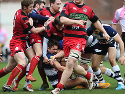 Bristol Rugby's Full Back, Jack Wallace at the bottom of the pile  - Photo mandatory by-line: Joe Meredith/JMP - Mobile: 07966 386802 - 15/02/2015 - SPORT - Rugby - Bristol - Ashton Gate - Bristol Rugby v Moseley - Greene King IPA Championship