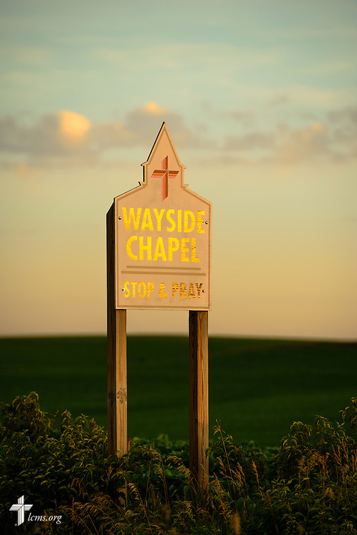 A sign greets visitors to the Wayside Prayer Chapel at Mission Central on Sunday, July 19, 2015, in Mapleton, Iowa. LCMS Communications/Erik M. Lunsford