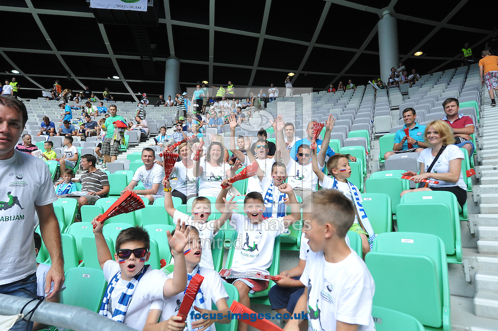 Fans of England prior to the UEFA Euro 2016 Qualifying match at Stozice Stadium, Ljubljana<br /> Picture by Stefano Gnech/Focus Images Ltd +39 333 1641678<br /> 14/06/2015