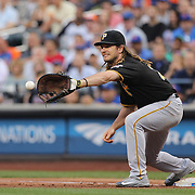 NEW YORK, NEW YORK - June 15: John Jaso #28 of the Pittsburgh Pirates making an out at first base during the Pittsburgh Pirates Vs New York Mets regular season MLB game at Citi Field on June 15, 2016 in New York City. (Photo by Tim Clayton/Corbis via Getty Images)