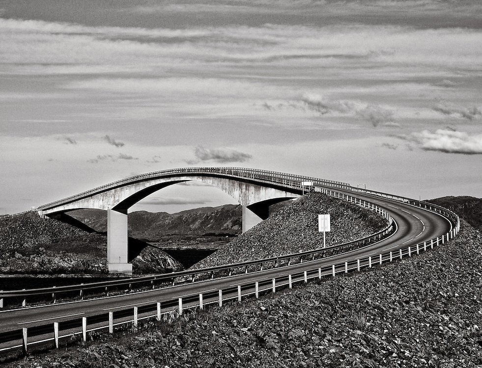 Norway - Bridge on Atlantic road BW