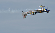 Mike Goulian performs during the Kansas City Air Show in Kansas City, Missouri