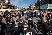NFL fans outside wembley watch the Jacksonville Jaguars band (Florida Blue) outside Wembley during the International Series match between Baltimore Ravens and Jacksonville Jaguars at Wembley Stadium, London, England on 24 September 2017. Photo by Jason Brown.
