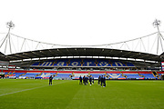 Wimbledon players inspecting the pitch during the EFL Sky Bet League 1 match between Bolton Wanderers and AFC Wimbledon at the University of  Bolton Stadium, Bolton, England on 7 December 2019.