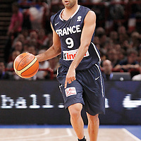 15 July 2012: Tony Parker of Team France brings the ball upcourt during a pre-Olympic exhibition game won 75-70 by Spain over France, at the Palais Omnisports de Paris Bercy, in Paris, France.